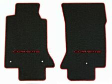 NEW! Black Floor Mats 2005-2007 CORVETTE Embroidered C6 RED Script Red Binding