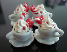 4 Cups of Cappuccino with Cane Red Heart Dollhouse Miniatures Food