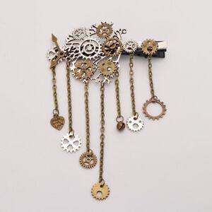 Vintage Steampunk Gear Tassel Chain Hair Clip Gothic Lolita Costume Hairpin