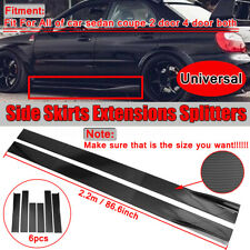 86.6'' Carbon Fiber Look Universal Side Skirts Extension Rocker Panel Splitters