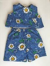 """Shorts and Top Set for 18"""" American Girl Doll Blue Daisies USA Made New"""