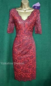 New M&S Twiggy UK 10 Red Purple Lace Stretch Lace Cocktail Party Valentine Dress