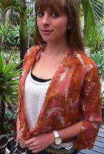 Kimono Blouse Shirt Rust Floral Wrap Top Womens Free Size 8 To 16 Designer