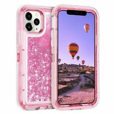 For iPhone 11 Pro Max Shockproof Liquid Glitter Bling Case Cover+Tempered Glass
