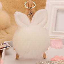 Soft Fluffy Faux Fur Rabbit Ear Pompom Ball HandBag Pendant Car Key Chain