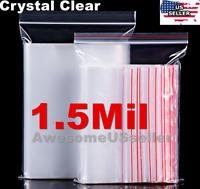 Clear Reclosable 1.5M Zip Lock Plastic Ziplock Bags Poly Zipper Packing Shipping