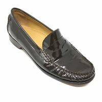 Women's Cole Haan Penny Loafers Shoes Size 7 B Brown Patent Leather Dress D14