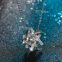 18K WHITE GOLD GF MADE WITH SWAROVSKI CRYSTAL PENDANT NECKLACE FANCY