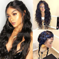 Elegant Long Wavy 100% Indian Human Hair Wigs 360 Full Front Lace Wig Baby Hair
