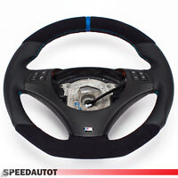 Aplati Alcantara (Bleu) Volant en Cuir BMW E92, E93 Neuf Cuir -ouverture Multi