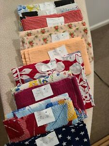 Vintage Lot of Seersucker Cotton Fabric for Crafts and Doll Clothes  9 pcs