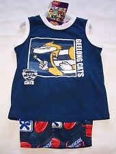 Geelong Cats AFL Boys Navy Blue White Cotton / Satin Pyjama Set Size 4 New