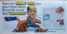 Bauer Skates Hockey ad with Bobby Orr - 1969 color cartoon comic ad page
