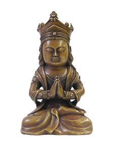Chinese Fine Bronze Metal Sitting Kwan Yin Buddha Statue cs1606