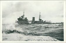 1941 WWII Battleship King George V in Rough Waters Original News Service Photo