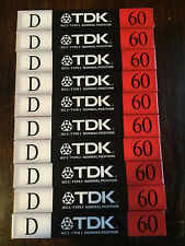 One New Sealed TDK D 60 Type I  Cassette Tape  Assembled in USA
