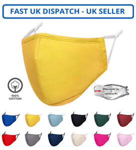 Adults Unisex Cotton Yellow Face Mask Mouth Protection Cover Washable Reusable
