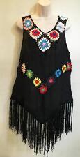 Hippie Bohemian MOD Granny Square Crochet Gypsy Festiva Fringe Top Black