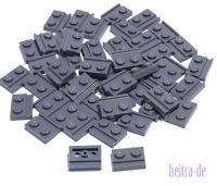 LEGO - 50 x Platte 1x2 dunkelgrau mit Führungsschiene / 32028 NEUWARE (L8)
