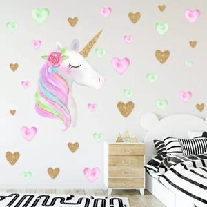Unicorn Hearts Wall Sticker Bedroom Nursery Decals Kids Removable AU