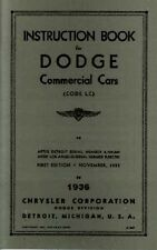 1936 Dodge Truck LC Series Owners Manual User Guide Operator Instruction Book