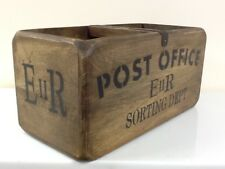 POST OFFICE SORTING DEPT ANTIQUE STYLE WOODEN STORAGE CRATE. LETTER ORGANISER