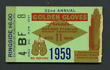 Cassius Clay Muhammad Ali RINGSIDE GOLDEN GLOVES FINALS 1959 Boxing Ticket Stub
