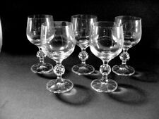 5 BOHEMIA LEAD CRYSTAL  WINE GLASSES:  CLAUDIA PATTERN  WITH THE BALL STEMS