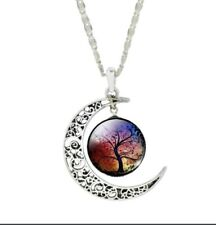 NEW! Women's Crescent Moon Glass Cabochon Pendant Necklace Set! Fast FREE Ship!
