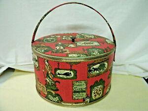 Vintage 1960's Sewing Box--Red Vinyl--Colonial Print--Original