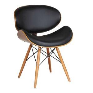 Armen Living Cassie Dining Chair, Walnut/Black - LCCASIWABL