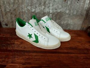 Vintage 1970-80s NOS Converse All Stars 10 Low Top White Green Leather Shoes