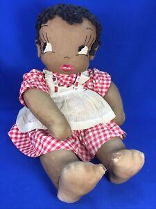 "Vintage Cloth Girl Doll Black Americana Folk Rag 1940's Large 20"" Handmade"