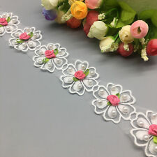 10x Rose Red Flower Pearl Lace Trim Wedding Ribbon Embroidered Applique Sewing