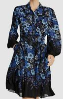$898 Elie Tahari Womens Blue Black Floral Long-Sleeve Button A-Line Dress Size 0
