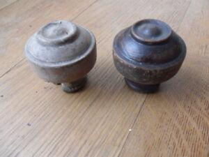 antique pair of wood doorknobs bulls eye turned door knobs spares repairs ? 19B