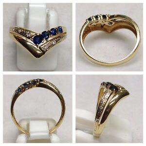 Reizvoller Ring 585er Gold mit Brillanten und Saphir - Goldring Saphirring