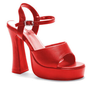 "Red Platform 5"" Pumps Shoe Open Toe Heels Womens Sexy Patent Leather"
