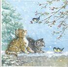 4 Single paper decoupage napkins. Xmas, winter, cats, kitties, birds design-X207