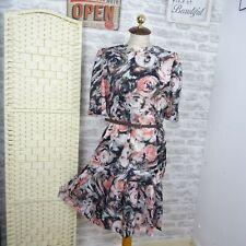 Vintage 80s stretch tea dress chic swirly pink overlay hen funky M/L D193