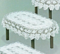 "Oval Lace Tablecloth White Wedding Table Covers 47"" x 63'' Tea Cloth Gift"
