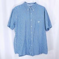 Chaps Mens Button Up Checked Short Sleeve Easy Care Shirt Blue Size XXL