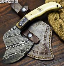 LOUIS MARTIN RARE CUSTOM HANDMADE DAMASCUS ART CLEAVER CHOPPER KNIFE CAMEL BONE