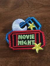 Movie Night Fun Patch Girl Scout Boy Scout Iron On Sew On Red Blue Yellow Ticket