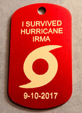 "1 Anodized I Survived Hurricane Irma Engravable ID Tag w/ 24"" Chain and D Ring"