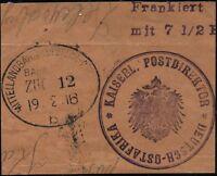 203/DOA 1916 Mittellandbahn Bahnpost Zug 12 b Briefstück Vorausfrankierung