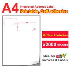2000 A4 Integrated Address Label For eBay post Packing Slip Inkjet Laser print
