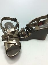 638a5a880f9 Callisto Of California Metallic Gold Platform Wedge Sandals Size 9