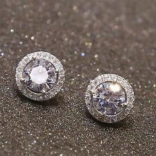 Women's Sanwood Nice Crystal Zircon Inlaid Ear Stud Platinum Plated Earrings NEW
