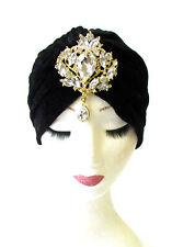 Black Gold Silver Rhinestone Diamante Turban Headpiece 1920s Flapper Vtg 1304